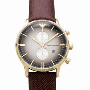 Emporio Armani Men's Watch Golden Steel Leather Chronograph Gray Dial AR1755