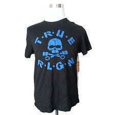 True Religion Men Size S Black Cotton Graphic TEE T-shirt NEW Mexico PUFF SKULL
