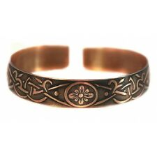Pure 100% Copper Bracelet Bioactive Bangle Vintage Style Bronze Chamomile