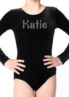 Personalised gymnastics leotards Girls Ballet Dance Lycra Velvet Unitard Shine