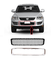 NEW VW TOUAREG FRONT BUMPER LOWER CENTER GRILLE CHROME FRAME TRIM 2007 - 2010