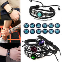 Women's Men's Constellation Zodiac Genuine Leather Bracelet Wristband Bangle