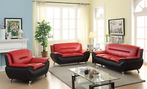 NEW 3PC Sofa Loveseat Chair Set Black Red Faux Leather Modern Living Furniture