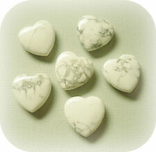 Natural Howlite Crystal Carved Heart Pocket Palm Healing Calming Worry Gem Stone