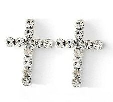 New 925 Silver Clear Gem Coated Cross Ear Cartilage Earring Piercing Sparky Pair