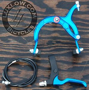 Blue Cruiser Bike Front Brake Lever Cable Caliper OS BMX Vintage Schwinn Bicycle