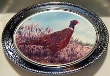 Belt Buckle Barlow Photo Reproduction in Color Pheasant Silver Hunting 592116c