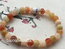 Certified natural A jade Golden silk jade 金丝玉 7mm carving elasticity bracelet 78