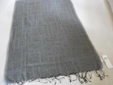 NWT NIP EILEEN FISHER Organic Linen Wool Cashmere Shapes Scarf Gray/BLACK 78X26