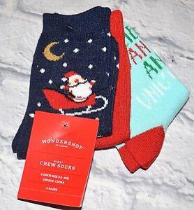 3 PAIRS WONDERSHOP & TARGET KIDS CREW SOCKS BOYS GIRLS CHRISTMAS HOLIDAY S NEW