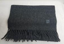 "DKNY Pure Wool Fringe Scarf 12"" X 66"" Made In scotland Dark Gray US Seller"