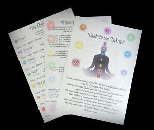Chakra Information and Balancing A4 Posters Parchement Paper Pagan Wicca Reiki