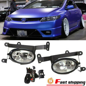 For Honda Civic 2Dr Coupe 2006-2008 Clear Lens Bumper Lamps Fog Lights Switch