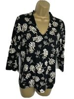 Laura Ashley Ladies Black & Ecru  V Neck Long Sleeve T-Shirt Top Size UK 10