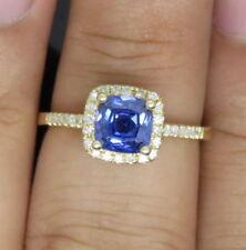 585er Gelbgold 1,60Kt Natürlich blau Tansanit EGL Zertifiziert Diamant Ring