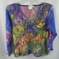 Love Amour Large Women's Multi pastel Floral Pullover L/S Shear Shirt New