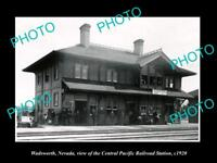 OLD LARGE HISTORIC PHOTO OF WADSWORTH NEVADA, THE RAILROAD DEPOT STATION c1920