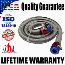 """Universal 3/8"""" Hose 3ft. Braided Stainless Steel Flex Fuel Line Hose Clamps Kit"""
