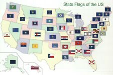 Map of the United States showing State Flags, Texas California NY etc - Postcard