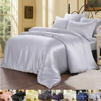 22MM 100% Pure Silk Duvet Cover Flat Sheet Pillow Case & Set Seamless King Size