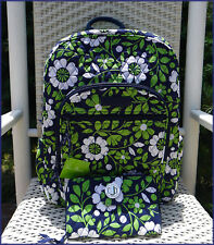 NWT $109 Vera Bradley Lucky You ☘ FULL SIZE Campus Backpack - Navy+Kelly Green