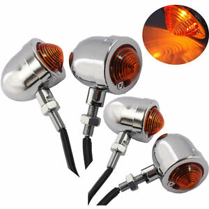 4x Motorcycle Chrome Turn Signal Light Indicator for Harley Chopper Cafe Racer