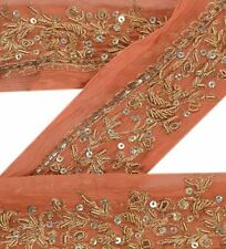 Vintage Sari Border Antique Hand Beaded 1 YD Indian Trim Ribbon Peach Deco Lace