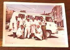 REAL COLOR PHOTO 1950s ISRAEL RED MAGEN DAVID CAR TEAM DOCTOR NURSE JUDAISM JEWS