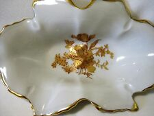 "Limoges Gold Rose Floral Dish Bowl Candy Trinket Pin Ring Relish 6 1/4"" France"