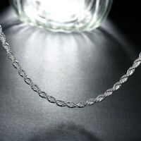 18K White Gold Plated Singapore Chain Necklace