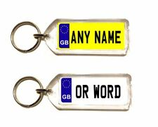 Personalised GB Registration Number Plate Keyring Any Name or Text
