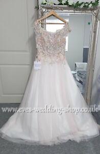 Boho floral ivory/pink wedding dress UK16-check measurements