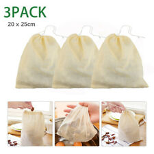 3Pcs Organic Cotton Nut Milk Bag Reusable Food Strainer Brew Coffee Cheese Cloth
