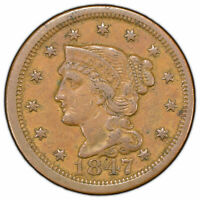 1847 1c Braided Hair Large Cent - VF/XF Original Coin - SKU-Y1261