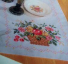 FANCIFUL FRUIT basket floral flowers CROSS STITCH  THANKSGIVING TABLERUNNER kit