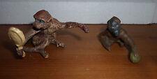 lot of 2 vintage prewar Lineol Elastolin playing apes monkey animal figures