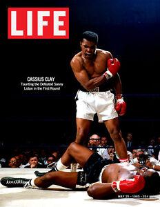 CASSIUS CLAY vs SONNY LISTON 8X10 PHOTO BOXING MAGAZINE PICTURE MUHAMMAD ALI