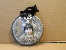 Folk Art Wall Hanging Crafted by Lorelie Kay Frozen Charlotte Head Rhinestones