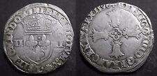 Quart d'écu Croix Feuillue 1590 L (BAYONNE) - Henri IV  - Argent