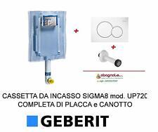 Kit completo cassetta wc incasso GEBERIT + PLACCA comando 2 Tasti + canotto