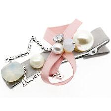 STELLA Fiocco Nodo Pink Pearl Diamante Bambina Slide Accessori Per Capelli Clip ha291