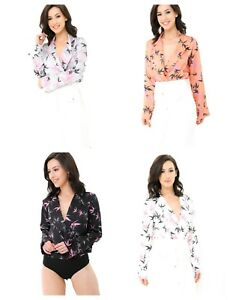 Women Ladies Sexy Floral Tuxedo Wrap Over Satin Bodysuit Leotard Top