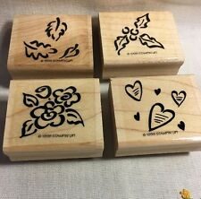 Wood Rubber Stamps 4 Stampin Up Flower Hearts Leaves Lot Rb-28