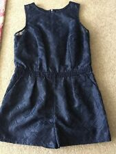 Next Petite Women's Blue Stitched Detailed Playsuit Size 12