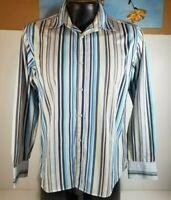 Ted Baker London Men Long Sleeve Striped Blue Cotton Dress Shirt Size 4