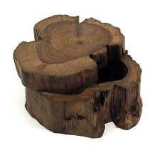 Thai Dark Wooden Log Box with Sliding Lid Trinket Jewellery Handmade Unique