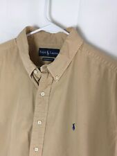 Polo Ralph Lauren Men's Shirts Button Front Classic Fit Tan Short Sleeve Sz XL
