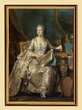 Pittore Maurice-Q. de la Tour la Marquise de Pompadour fac simili 16 nel quadro oro