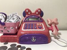 Minnie Mouse Pink Bow Tie Cash Register Scanner w/ Play Money, Coins, Basket