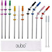 Reusable Straws Stainless Steel Straws -(10 Pack) with Silicone Tips, Cleaning B